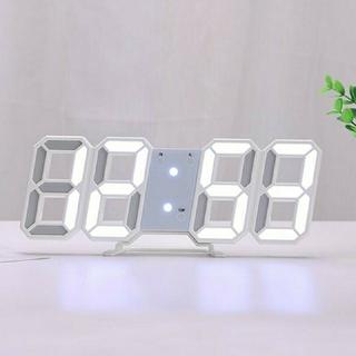 3Dデザイン 置時計 壁掛け時計 デジタルled 韓国 インテリア 白 ホワイト(置時計)