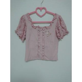 リズリサ(LIZ LISA)のLIZ LISA 刺繍 ブラウス トップス 量産型 ピンク レース(シャツ/ブラウス(長袖/七分))