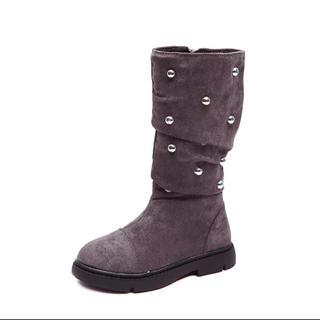 ザラキッズ(ZARA KIDS)のキッズブーツ新品21-22cm.スタッズ秋冬、子供靴グレー(ブーツ)