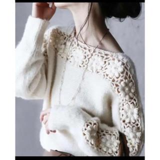 カワイイ(cawaii)のcawaii  流れ咲く花コサージュのニットトップス 長袖セーター ニット 美品(ニット/セーター)