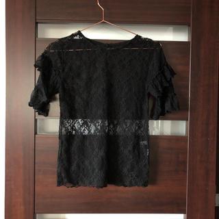 ローズバッド(ROSE BUD)のローズバッド レース 半袖 トップス  インナー 黒 ブラック(シャツ/ブラウス(半袖/袖なし))