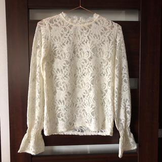 ローズバッド(ROSE BUD)のローズバッド レース インナー ホワイト 白 長袖ブラウス 袖フレア(シャツ/ブラウス(長袖/七分))
