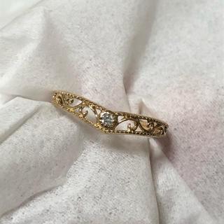 ジュエリーツツミ(JEWELRY TSUTSUMI)の【美品】 K10 ダイヤ 透かしリング V字 ツツミ(リング(指輪))