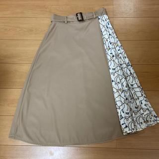 natural beauty basic スカーフ柄サイドプリーツスカート