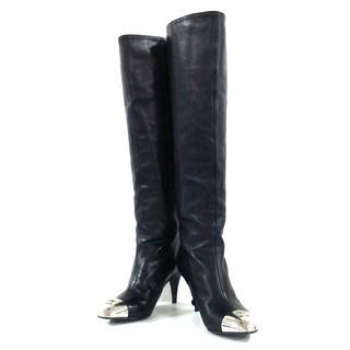 シャネル(CHANEL)のシャネル ロングブーツ 36H レディース 黒(ブーツ)