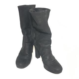 プラダ(PRADA)のプラダ ブーツ 37 レディース 黒 レザー(ブーツ)