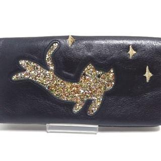 ツモリチサト(TSUMORI CHISATO)のツモリチサト 長財布 黒×ゴールド レザー(財布)