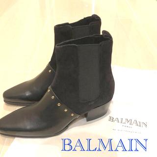 バルマン(BALMAIN)の新品 未使用 バルマン balmain サイドゴア 黒 スタッズ ショートブーツ(ブーツ)