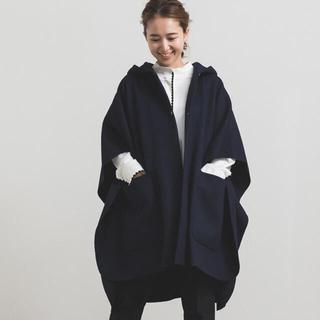 ドゥロワー(Drawer)の♡新品タグ付き yori ウールライトポンチョ  ネイビー 36(ポンチョ)