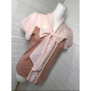 アクシーズファム(axes femme)のアクシーズファム 未使用 可愛いお袖のリボンカットソー Mサイズ(カットソー(半袖/袖なし))