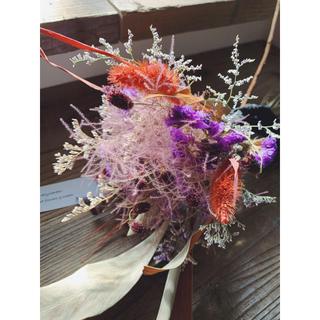 パープル&オレンジの秋色スワッグブーケとブラックタッセルI(ドライフラワー)