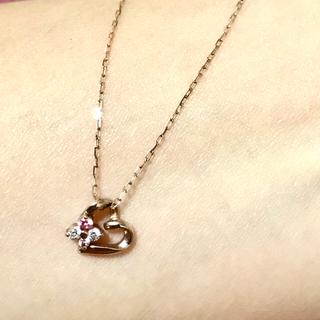 4℃ - 【タイムセール!】4℃のK10ピンクゴールドピンクストーン含むネックレス