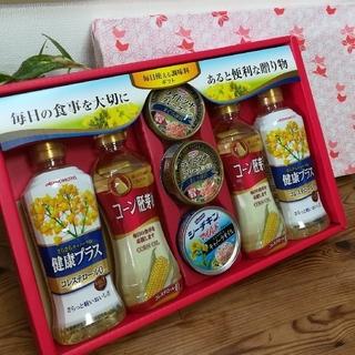 アジノモト(味の素)の 味の素 と 岡村製油、ツナ缶 調味料ギフト(調味料)