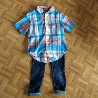 ギャップキッズ(GAP Kids)の★Gapkidsチェックシャツ H&Mジーンズ サイズ120★(パンツ/スパッツ)