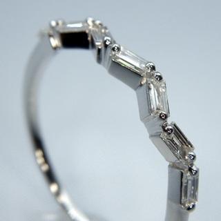 K18WG ホワイトゴールド 0.18ct ウェーブ ダイヤモンド リング (リング(指輪))