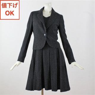 アナイ(ANAYI)のアナイ ワンピース&スカートスーツ 36 黒 S 白ドット柄 tqe ★極美品★(スーツ)