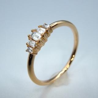 K18PG  0.16ct テーパー ダイヤモンド リング(リング(指輪))