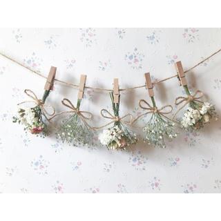 ホワイトピンクのバラとかすみ草のドライフラワーガーランド♡スワッグ♡ミニブーケ (ドライフラワー)