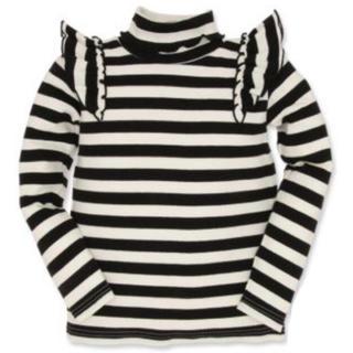 ニシマツヤ(西松屋)の秋先取り♡メロウ肩フリルボーダータートルネック長袖Tシャツ 黒 140cm(ニット)