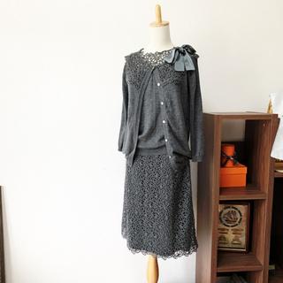 クリスチャンディオール(Christian Dior)の美品 Dior ディオール お刺繍 おりぼん  スーツ ワンピース カーディガン(スーツ)