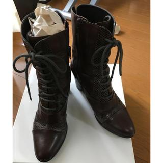 アシナガオジサン(あしながおじさん)の編み上げショートブーツ ブラウン サイズ23.0cm(ブーツ)