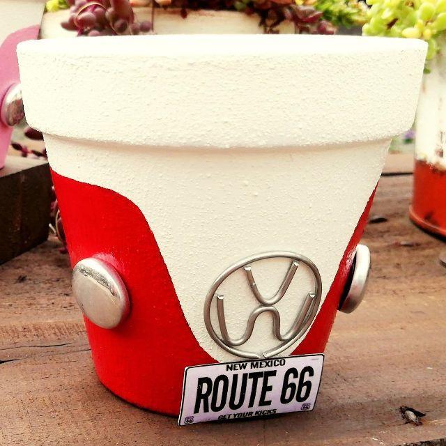 F0917a⑩ ワーゲン鉢B☆赤 1個 ハンドメイドのフラワー/ガーデン(その他)の商品写真