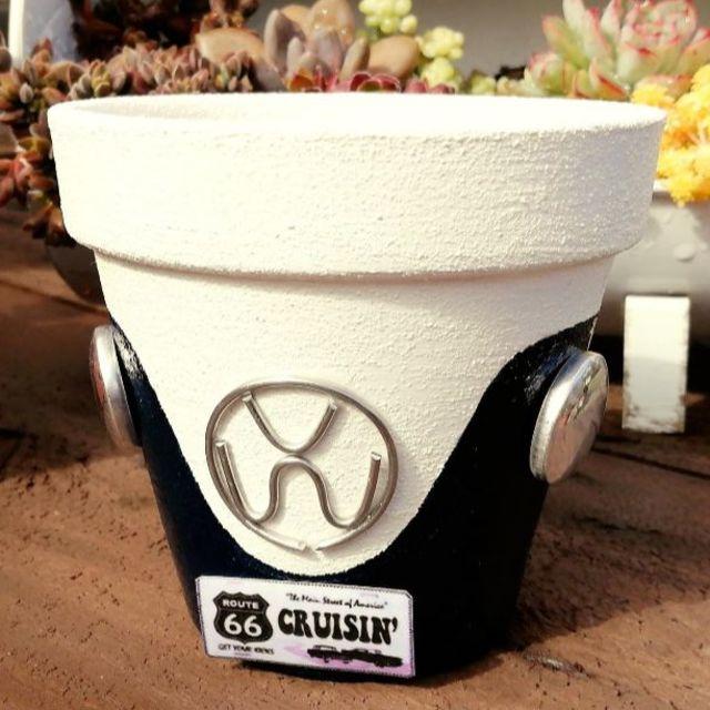 F0917b⑩ ワーゲン鉢B☆黒 1個 ハンドメイドのフラワー/ガーデン(その他)の商品写真