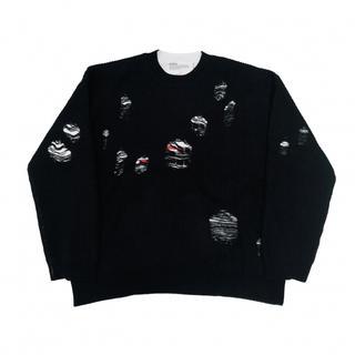 dairiku 20aw layered damage knit black(ニット/セーター)