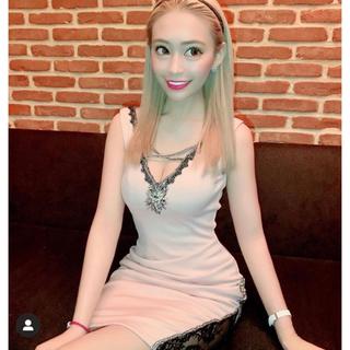 エンジェルアール(AngelR)のデコルテクロスデザインアシンメトリーシアーレッグタイトミニドレス(ナイトドレス)