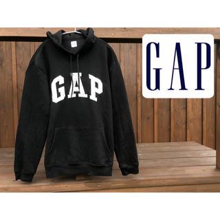ギャップ(GAP)のOLD GAP デカロゴ  パーカー 黒 プルオーバー  刺繍ロゴ(パーカー)