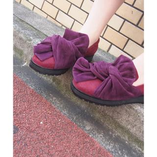 メリージェニー(merry jenny)のmerry jenny スエードライクリボンシューズ(ローファー/革靴)