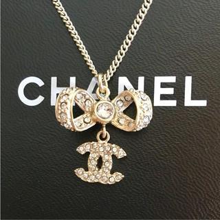 CHANEL - シャネル ネックレス リボン ココマーク ラインストーン ゴールド 金