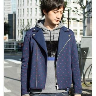 ラブレス(LOVELESS)の美品 ヤングマシーン ニット ドット ライダースジャケット 日本製(ライダースジャケット)