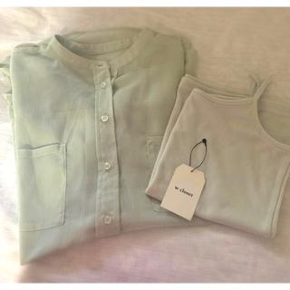 ダブルクローゼット(w closet)のシアーシャツ ミントグリーン 2点セット(シャツ/ブラウス(長袖/七分))