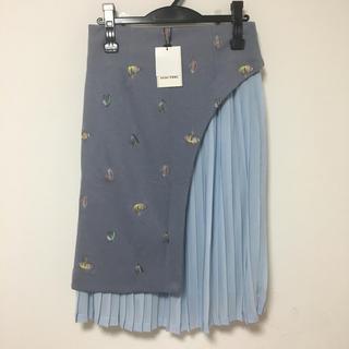 スピックアンドスパン(Spick and Span)のMINI FEEL ラップ風二層プリーツスカート 38(ひざ丈スカート)