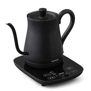 3)ブラック(温度調節機能付)アイリスオーヤマ  ドリップケトル 電気ケトル ブ