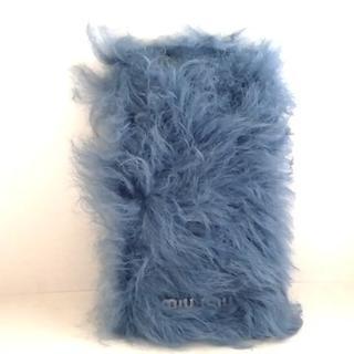 ミュウミュウ(miumiu)のミュウミュウ 携帯電話ケース - ブルー(モバイルケース/カバー)