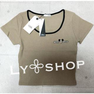 ジェイダ(GYDA)のGYDA 新品 MICKEY MOUSE リンガーテレコTシャツ ベージュ(Tシャツ(半袖/袖なし))