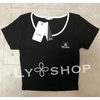 ジェイダ(GYDA)のGYDA 新品 MICKEY MOUSE リンガーテレコTシャツ ブラック(Tシャツ(半袖/袖なし))