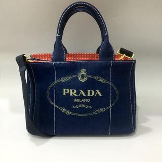 プラダ(PRADA)の送料込 2WAYバッグ ギンガムブルーPRADA(ショルダーバッグ)