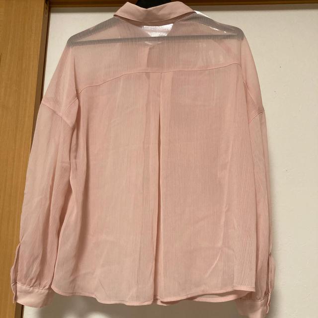 GU(ジーユー)の(207) 新品 GU 150 オーバーサイズ シアーシャツ (長袖) ピンク キッズ/ベビー/マタニティのキッズ服女の子用(90cm~)(ブラウス)の商品写真