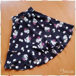 フェルゥ(Feroux)の《Feroux》ウエストリボン 花柄 フラワー スカート 1(ひざ丈スカート)