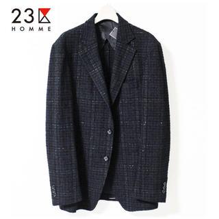 ニジュウサンク(23区)の 《23区HOMME》新品 チェック 3Bテーラードジャケット 黒 48(L)(テーラードジャケット)