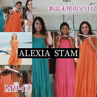 アリシアスタン(ALEXIA STAM)のALEXIA STAM ギャザーサマーマキシドレス オレンジ M 新品未使用(ロングワンピース/マキシワンピース)