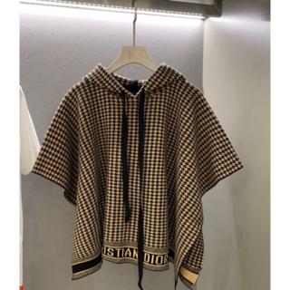 ディオール(Dior)のDIOR ポンチョロゴ カシミヤ 千鳥格子 (ニット/セーター)