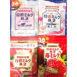 UHA味覚糖 - 特濃ミルク 8.2  4袋 苺ミルク、ミルク、白桃、チョコ キャンディ 飴 アメ