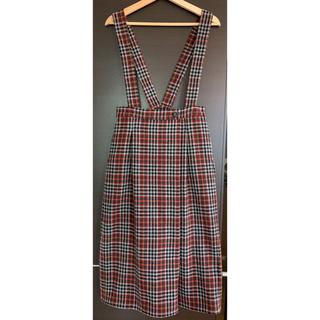 シャンブルドゥシャーム(chambre de charme)のウールエターミンチェック吊りスカート(ロングスカート)