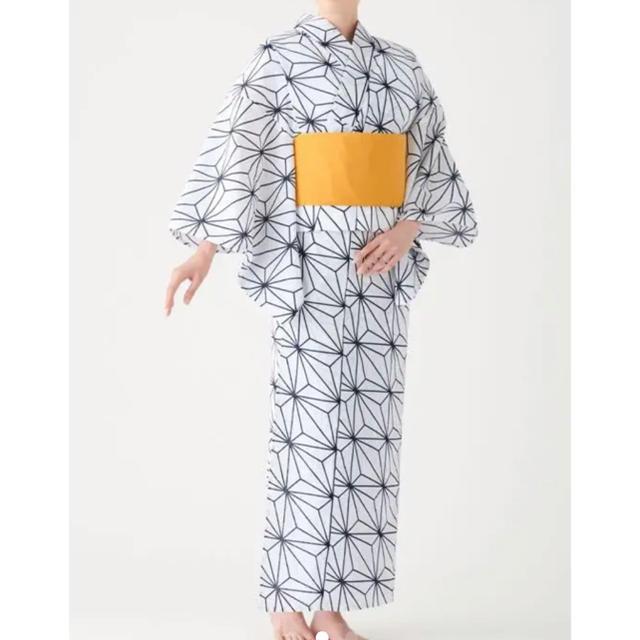 MUJI (無印良品)(ムジルシリョウヒン)のMUJI LABO 無印 麻の葉柄 浴衣と帯セット レディースの水着/浴衣(浴衣)の商品写真