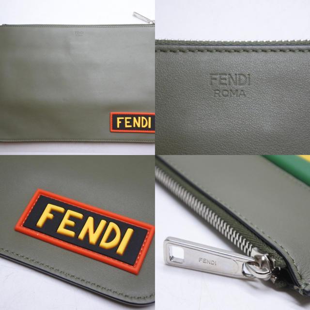 FENDI(フェンディ)のフェンディ クラッチバッグ ボキャブラリーFANTASTIC レザー カーキ メンズのバッグ(セカンドバッグ/クラッチバッグ)の商品写真