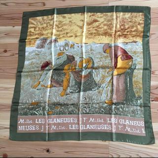 グリモワール(Grimoire)のvintageレトロ古着グリーン絵画芸術デザインスカーフ(バンダナ/スカーフ)